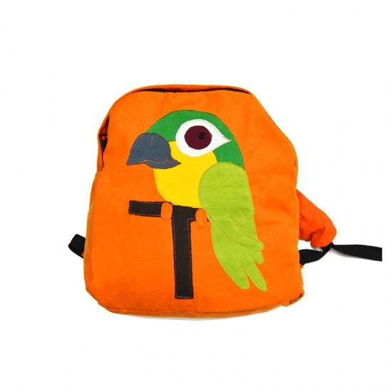 Mochila para niños guacamayo hippie. Diseño creado por Pachamama Kids