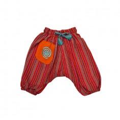 Pantalón afgano hippie para niños espiral