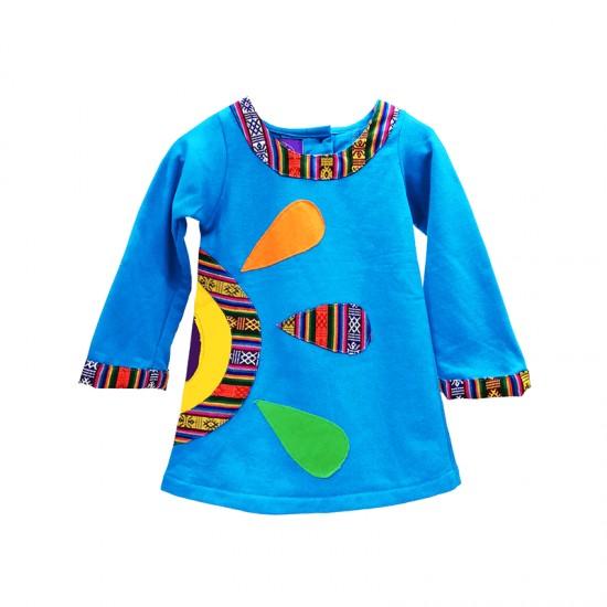 ⛄ Vestido étnico flor, vestido alternativo para niñas