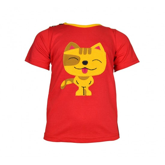 Camiseta Infantil de manga corta con aplique de Gato