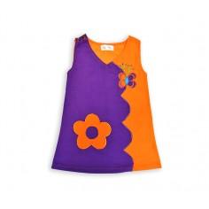 Vestido Hippie Flor-Mariposa Naranja