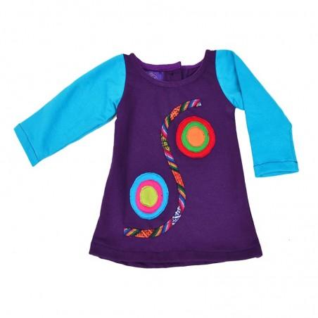 Vestido para niñas bicolor con apliques étnicos