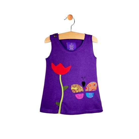 Vestido niña colorido mariposa y flor