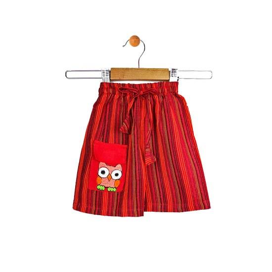 Pantalón corto hippie de rayas y bordado