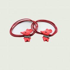 Coletero de 3 gomas elásticas con adorno de ratoncita en color rojo