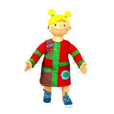 Niña con vestido rojo con apliques en tela étnica, vestido manga larga para el invierno