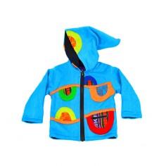Chaqueta étnica para niños color azul con capucha tipo duende, para niños y niñas desde los 6 meses hasta los 6 años