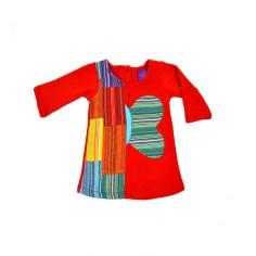 Vestido manga larga para niñas con diseño de mariposa y parches en tela etnica