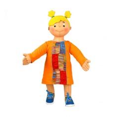 Vestido manga larga con parches de retales, moda étnica para niños