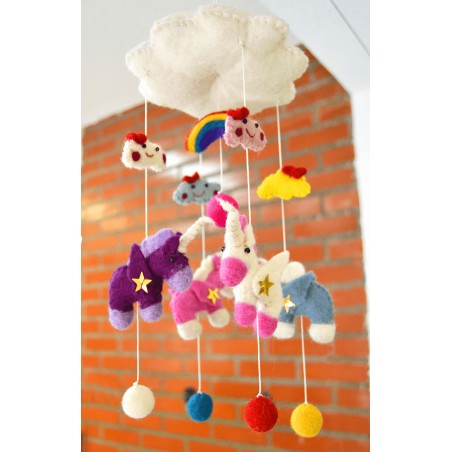 Móvil Carrusel Unicornio de Fieltro, regalos alternativos para bebes